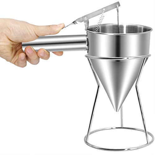 Piston Funnel Stainless Steel Confectionery Funnels with Stand Batter Dispenser Bakery Use Cake Decorating Tool