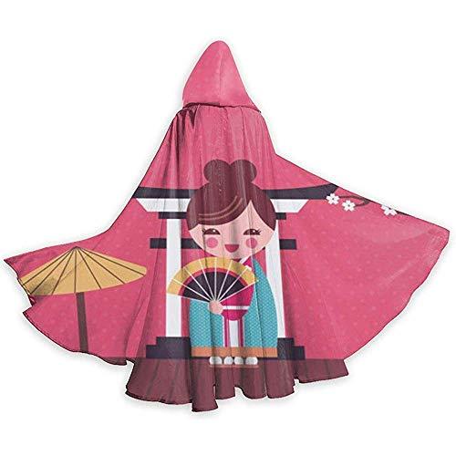 KDU Fashion Strega mantel met capuchon heks met paraplu Geisha Japans voor Festa in masker 40 x 150 cm