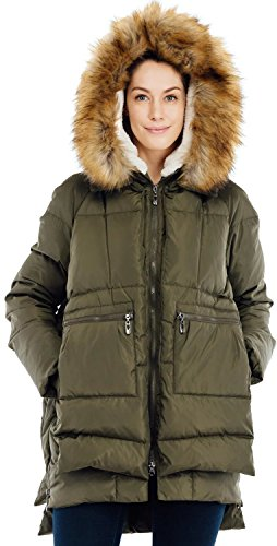 Valuker Women's Down Coat With Fur Hood 90D Parka Puffer Jacket 25-Green-M
