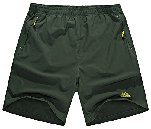 Singbring Men's Outdoor Active Quick Dry Hiking Shorts Zipper Pockets Large AGreen326