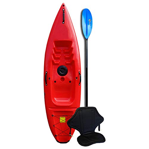 Riber Standard Sit On Top Kayak - Ideal for Beginners - Starter Pack - Multiple Colours (Red)