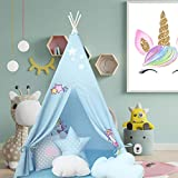 Atlasonix Teepee Tent for Kids   Unicorn Tepee Play Tent Indoor and Outdoor   Tipee Tent for Girls and Boys   Children's Best Tee Pee Playhouse Fort   Portable Tent w/ Convenient Carry Case (Blue)