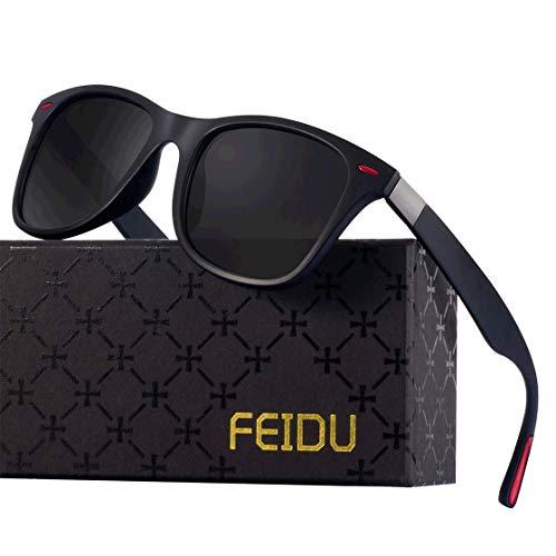 Polarized Sonnenbrillen Herren Vintage Style Sonnenbrillen Damen-Sport im Freien Golf Radfahren Angeln Wandern FD2150 (Schwarz rot, 60)