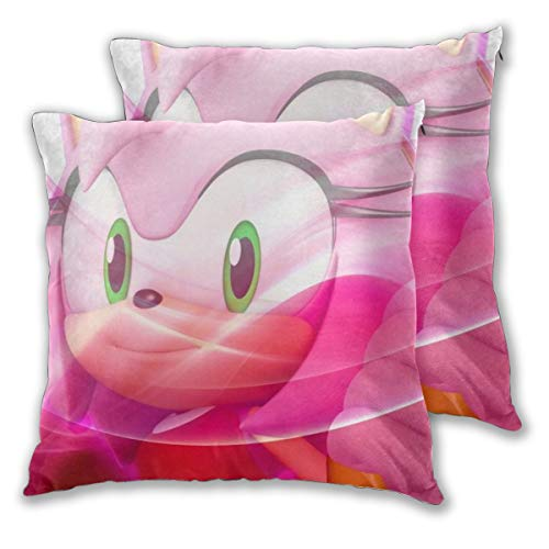 Gene Steinbeck Sonic The Hedgehog-Amy Rose Anime Square Pillow Set of 2 18'x18'