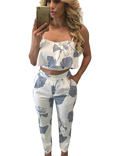 FANCYINN Women Two Pieces Floral Pants Outfits Jumpsuit Romper Spaghetti Strap Crop Top and Long Pants Summer Casual Style Gray Leaf S