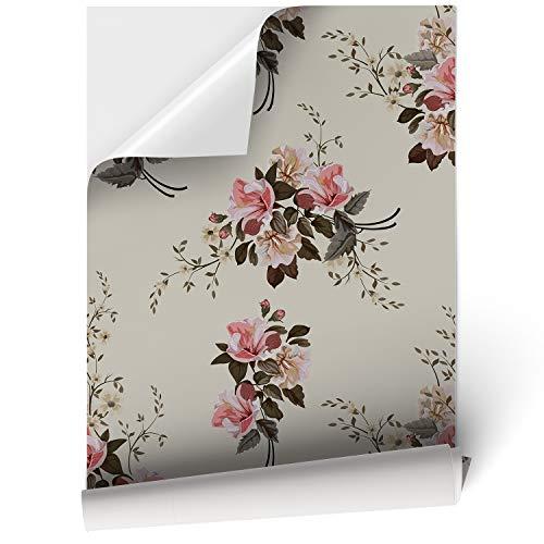 Vinilo Adhesivo para Muebles y Pared, 44.5 x 200 cm, Flores Elegantes, Fondo Beige, VNL-019