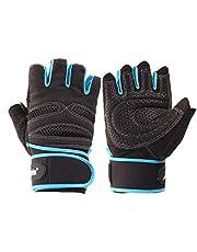 Gym Training Sports Fitness Weightlifting Wrist Wrap Gloves (L,black/blue)