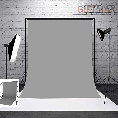 GiftMax® Photography Backdrop Stand Kit Background Support Kit Foldable with Bag and Curtain Cloth (with Stand KIT + Grey Cloth)