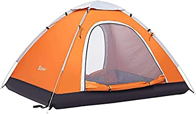 Ubon 2-3 Person Pop up Tent Instant Tent Lightweight Camping Tent Family, Orange