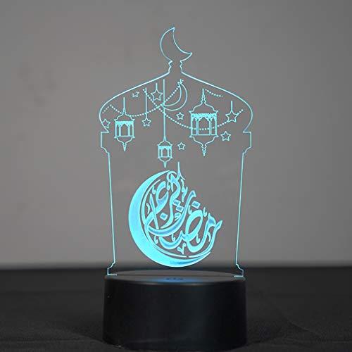 Nikunty 3D creativo LED noche luz acrílico Ramadán Eid Mubarak lámpara de mesa decoración de oficina