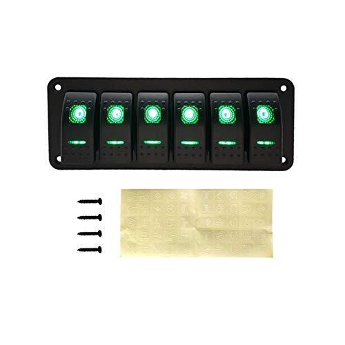 QIBIN Panel de interruptor basculante de 12 V para barco, camión, caravana, coche, interruptor de interruptor (color: panel de interruptor de 6 bandas) (color verde)