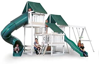 CONGO Monkey Playsystem #4 with Swing Beam - White and Sand Low Maintenance Play Set - Green Accessories