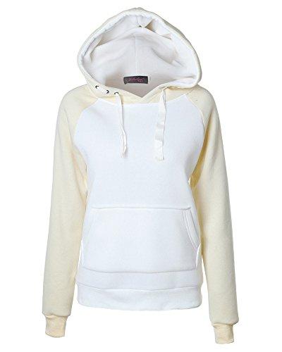 Sweat à Capuche pour Femmes Raglan Manches Longues Pullover Patchwork Sweatshirt Blanc Beige S