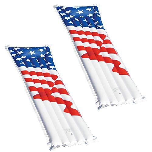 Swimline 72' Inflatable American Flag Swimming Pool and Lake Float Raft (2 Pack)