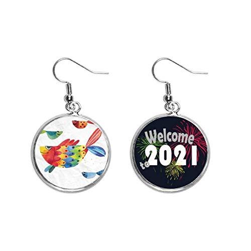 Dibujos animados peces coloridos de la oreja de los colgantes de los pendientes de la joyería 2021 bendición