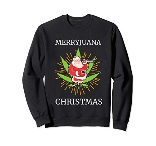 Ugly Christmas Stoner Santa Claus Smoking Weed Marijuana Sweatshirt
