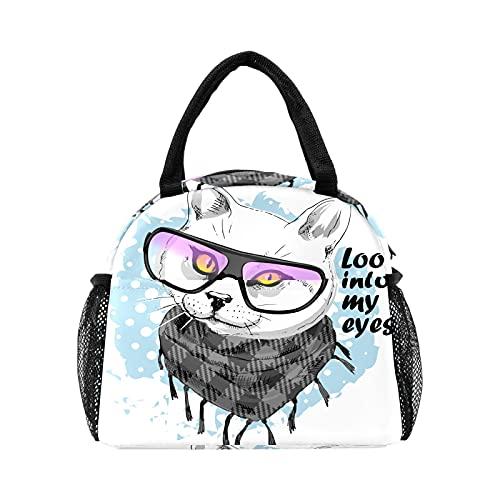 Bolsa de almuerzo para mujeres y hombres, gato divertido con bufanda, gafas aisladas reutilizables para el almuerzo, bolsa térmica para el trabajo, picnic, senderismo, viajes, playa