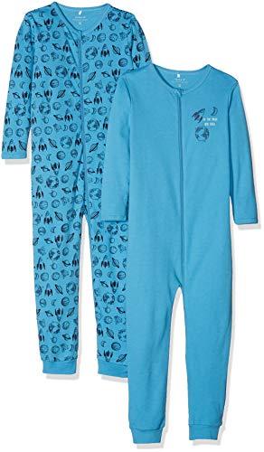 NAME IT Baby-Jungen NMMNIGHTSUIT 2P Zip NOOS Strampler, Mehrfarbig (Cendre Blue Cendre Blue), 80 (2er Pack)
