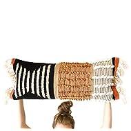 Casa Boho Lumbar Pillow, 12 x 33, Mid Century Modern, Bohemian, Decorative Throw Pillow, Black, Orange, Rust, Tassels, Pillow Cover ONLY
