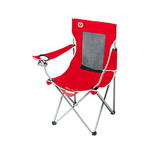 Outbound Camping Chair | Portable Foldable Mesh Back Quad Chair with Cup Holder | Lightweight and Perfect for The Beach, Backpacking, and The Outdoors | Red