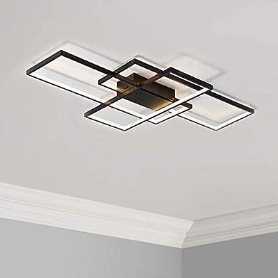 """Leniure Black Modern Square LED Light Ceiling Lamp Chandelier Lighting Fixture 35"""" Wide 22"""" Deep 3"""" High, Warm White 3000K"""