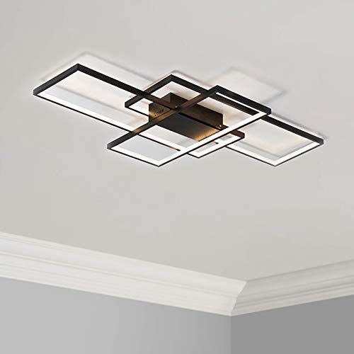 Leniure Lampada da soffitto a LED a luce quadrata nera Lampadario 90 cm Larghezza 50 cm Profondo 8 cm Altezza, bianco caldo 3000K