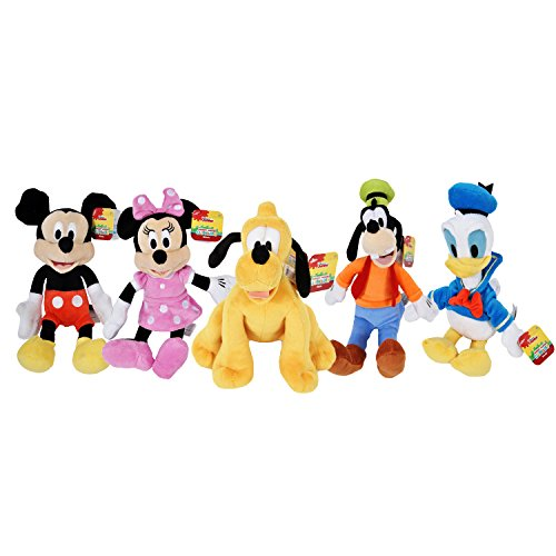Disney Gang 9' Bean Plush Mickey Minnie Mouse Donald Pluto Goofy - 5 Pack