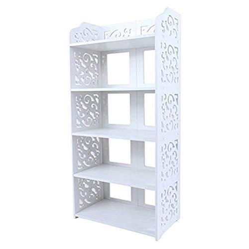 YUXIwang Estantería de madera para zapatos, libros, CD, calado, color blanco