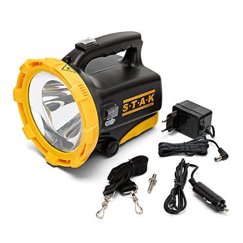 Velamp Trainspotting Linterna LED de 1600 lúmenes, lámpara recargable. Powerbank. Resistente al agua. Para acampar, pescar, trekking, emergencias, 20 W, Negro