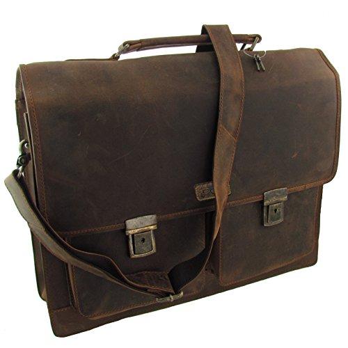 Pedro Wasserbüffelleder Aktentasche Schultertasche Lehrertasche Natural Leder aus Direktvertrieb des Herstellers