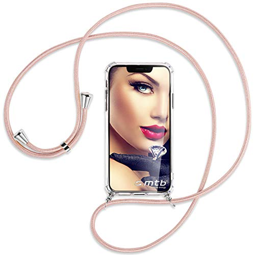 mtb more energy® Handykette 2.0 kompatibel mit Asus Zenfone Max M2 (ZB633KL, 6.26'') - roségold - Smartphone Hülle zum Umhängen - Anti Shock Strong TPU Case