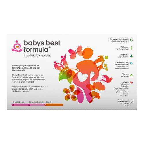 Babys Best Formula® Nahrungsergänzung I Schwangerschaft Kinderwunsch Stillzeit I 100% pflanzlich I 60 Vitamine & Mikronährstoffe Kapseln Q10 Vitamin E Jod Folsäure DHA I vegan