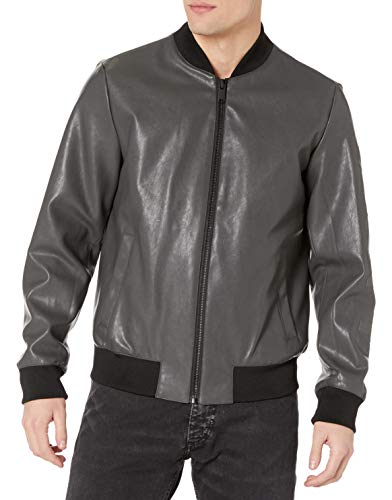 DKNY Men's Leather Bomber Jacket, Grey - Rugged Lamb Faux PU, Medium