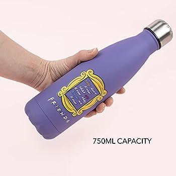 Friends - Bouteille d'eau Friends ? Acier inoxydable ? Bouteille d'eau sans BPA ? Cadeaux de l'émission TV Friends ? Bouteille d'eau en métal ? 750 ml ? Violet