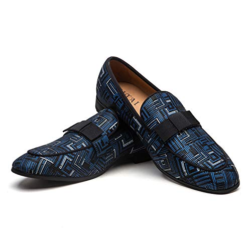 JITAI Mocasines Azules para Hombre Zapatos Casuales de Moda Mocasines Zapatos de Fiesta