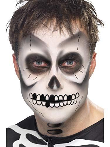 Smiffy'S 39093 Kit De Esqueleto, Pintura Facial, Lápiz Negro Y Esponja, Negro / Blanco