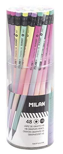 MILAN Bote 48 lápices de grafito HB redondos con goma Sunset (71612748)