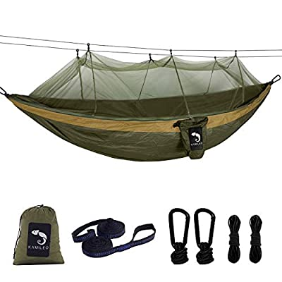 Camping Hammock with Bug Net Lightweight Nylon Portable Hammock Includes Hammock Tree Straps and Carabiners Great for Indoor Outdoor Backpacking Travel Hiking Beach Yard Gear Double Hammock(Green)