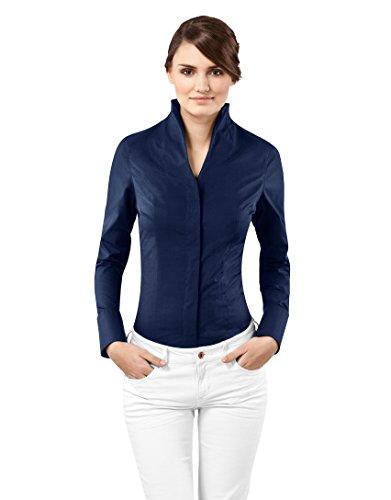 Vincenzo Boretti Damen Bluse mit Kelchkragen tailliert 100% Baumwolle bügelfrei Langarm Hemdbluse mit Stehkragen elegant festlich auch für Business dunkelblau 34