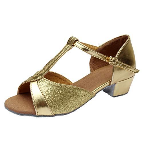 Conquro Zapatos de Princesa de Bowknot Zapatos de Tacón Alto de Moda para Niñas Sandalias de Vestido Disfraz de Princesa Zapatilla de Ballet Verano Zapatillas Cosplay Fiesta Arco de Lentejuelas
