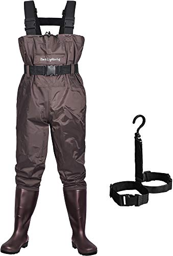 Dark Lightning Fly Fishing Waders for Men and Women with Boots, Mens/Womens High Chest Wader with Boot Hanger (Brown, 13 Men)