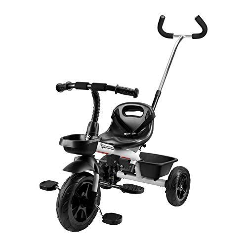 HyperMotion Triciclo infantil con mango de control para padres, cinturón de seguridad, sillín cómodo, ruedas anchas, triciclo Tobi Vector para niños y niñas, color gris