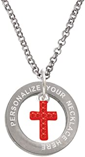 Small Red Crystal Cross Custom Engraved Affirmation Ring Necklace