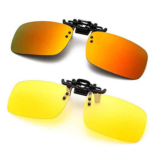 Polarized Clip-on Sunglasses Anti-Glare Driving Glasses for Prescription Glasses (Orange + Night Vision Lens)