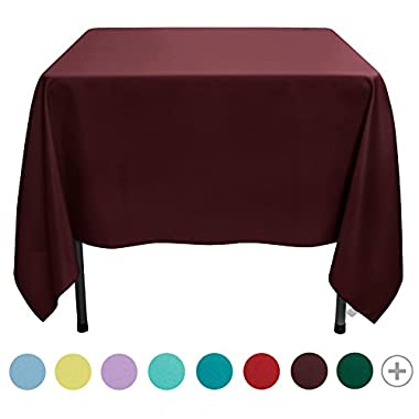 VEEYOO 70 inch Square Solid Polyester Tablecloth for Wedding Restaurant Party, Burgundy