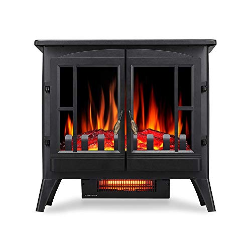Kismile 3D Infrared Electric Fireplace Stove, Freestanding Fireplace Heater With Realistic Flame Effects, Portable Indoor Space HeaterWith Overheating Safety System, Adjustable Brightness (23.6 inch) Décor Dining electric Features Fireplaces Home Kitchen