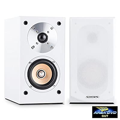 """AUNA Line 501-BS-WH Pair of Passive Bookshelf Speakers (50W RMS, 4"""" Midrange Driver & Gold Plated Speaker Connections) White from Auna"""