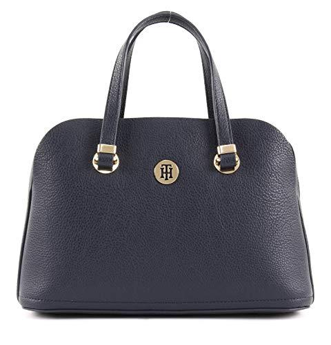 Tommy Hilfiger Damen Handtasche Tasche Henkeltasche TH Core M Satchel Blau