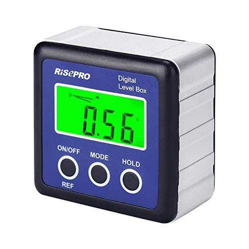 RISEPRO Digitaler LCD Winkelmesser Neigungsmesser Inklinometer Wasserdicht Bevel Box Winkelmessgerät Wasserwaage - Blau