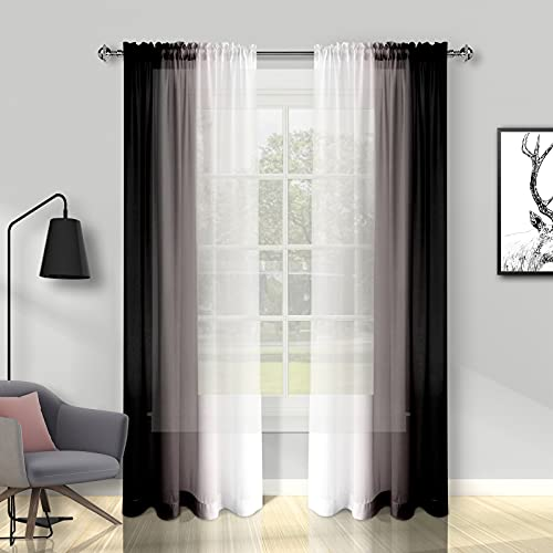 Melodieux Black Ombre Sheer Curtains 84 Inches Long for Living Room, Bedroom Chiffon Black White Gradient Rod Pocket Voile Drapes, 52 by 84 Inch, 2 Panels